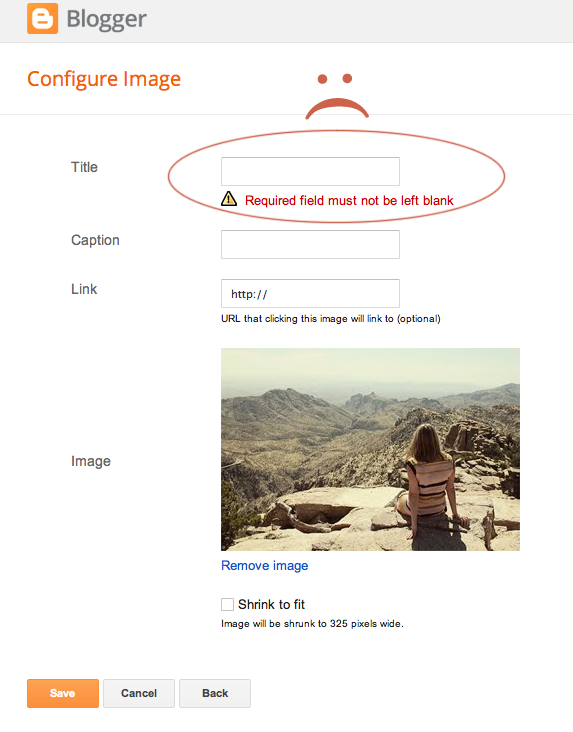 How-To:  Removing Required Title from Blogger Image Gadget