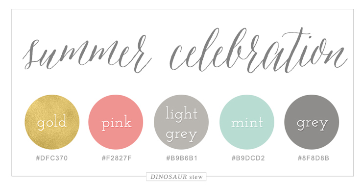 Pink, Gold, & Mint Color Scheme
