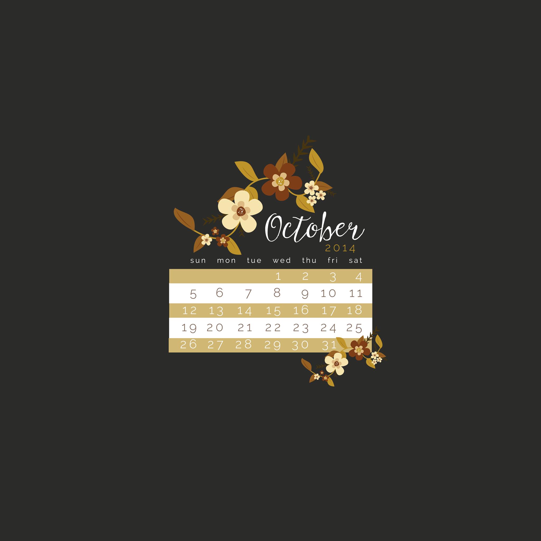 Calendar Lockscreen : October freebie calendar lock screen wallpaper