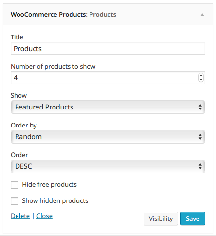 WooCommerce Products Widget