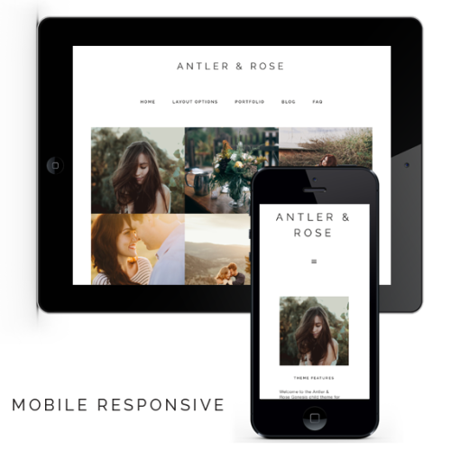 Mobile responsive Anter and Rose theme