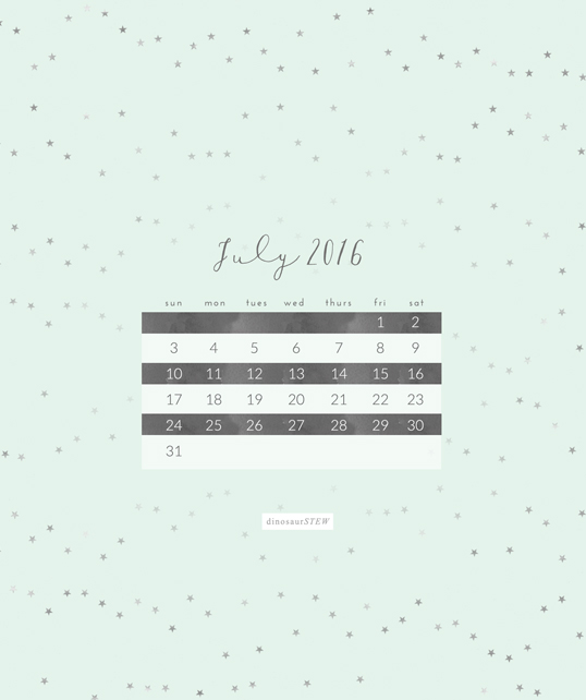 July 2016 Calendar Wallpaper