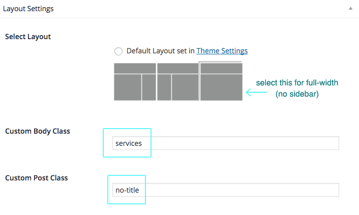 services page settings