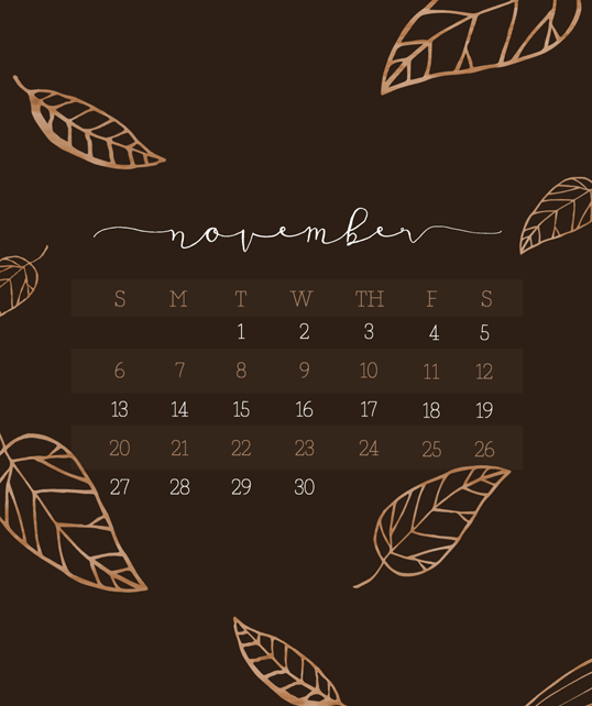 november calendar wallpaper