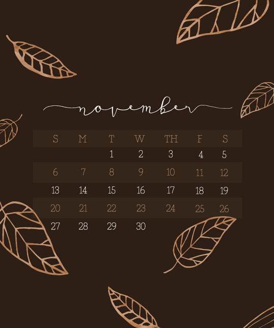 November 2016 Calendar Wallpaper