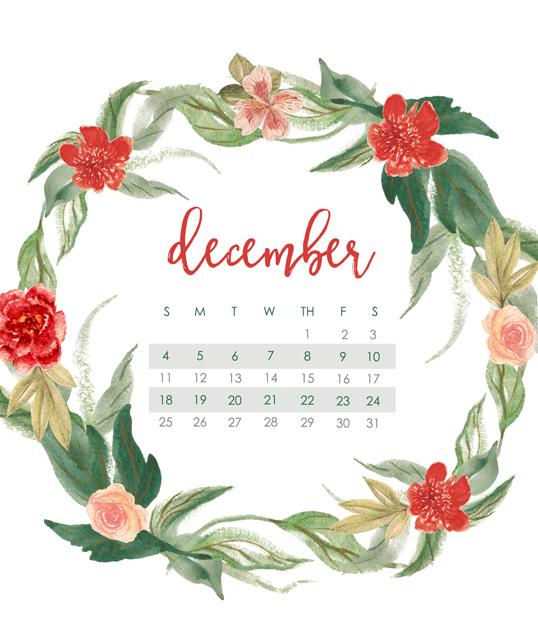 December Calendar Wallpaper for 2016