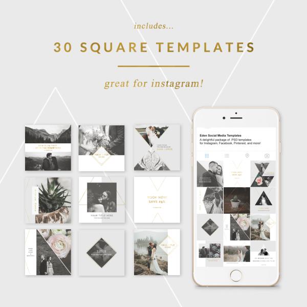 Square Instagram Templates - Eden Collection