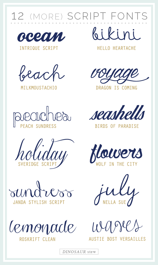 twelve more script fonts (these are free too)