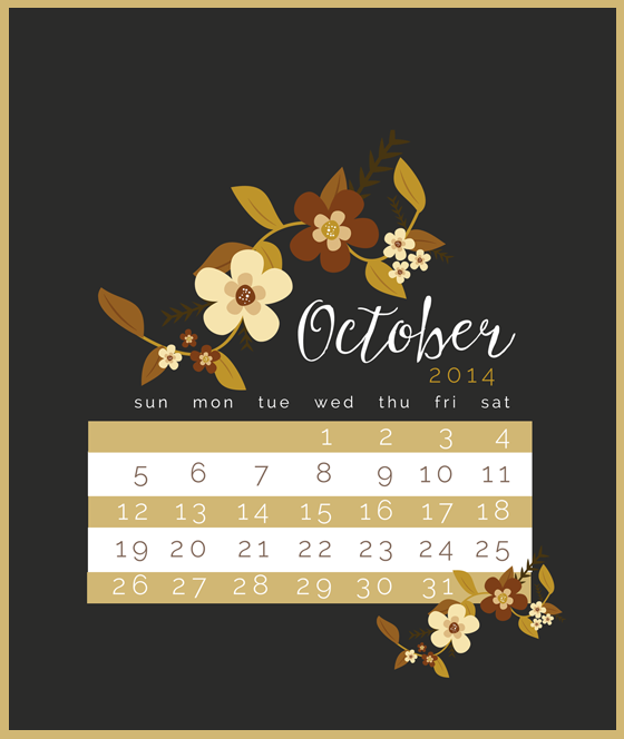 October 2014 Freebie:  Calendar Lock Screen Wallpaper
