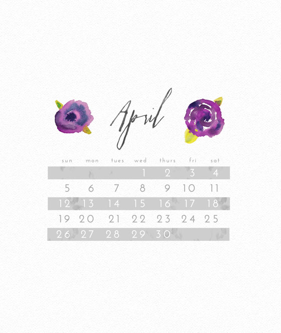 April 2015 Freebie: Floral Watercolor Lock Screen Calendar Wallpaper