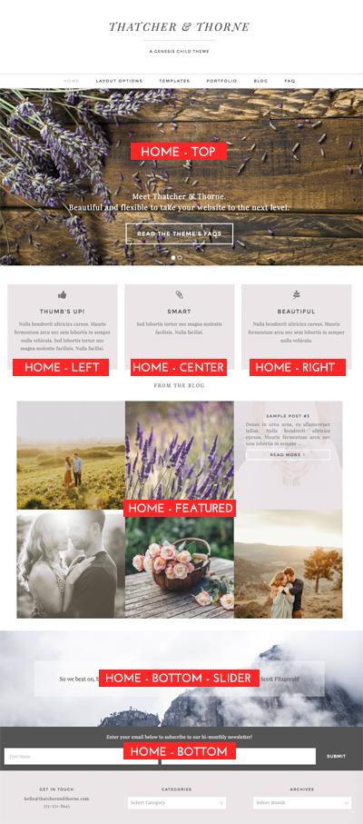 Thatcher & Thorne Widget Areas on Homepage