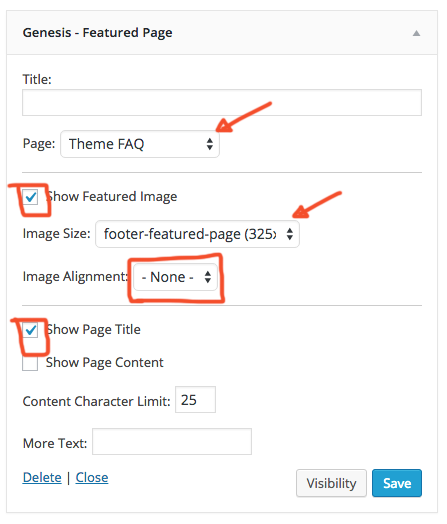 Featured Page Settings for Antler & Rose Footer