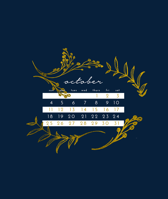 October Lock Screen Calendar Preview