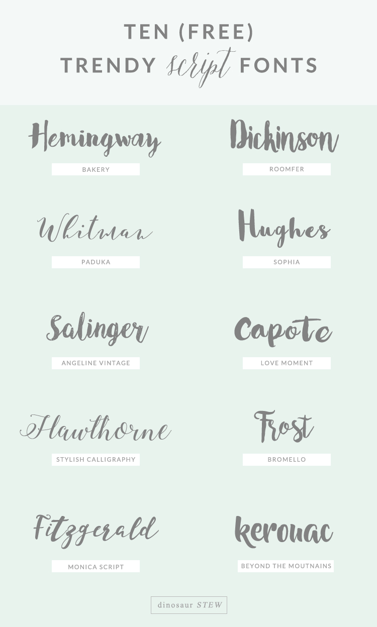 Ten Free Script Fonts