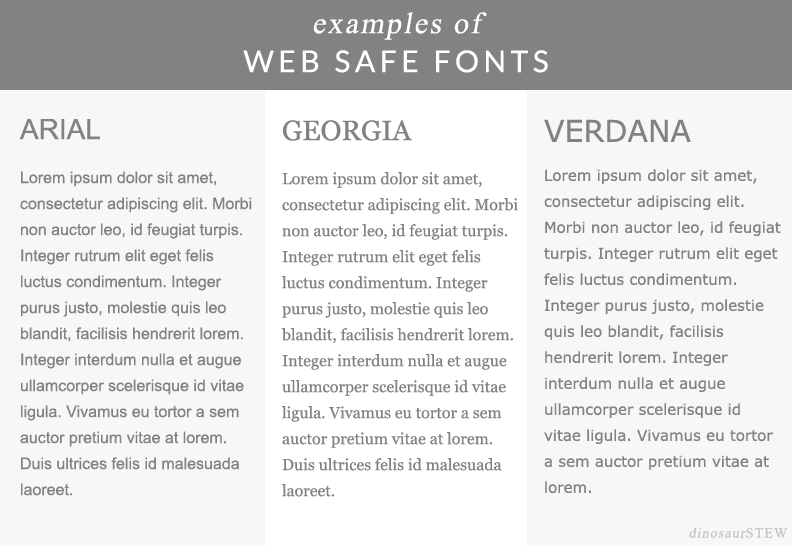 examples of web safe fonts