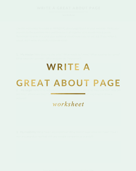 Write A Great About Page Worksheet