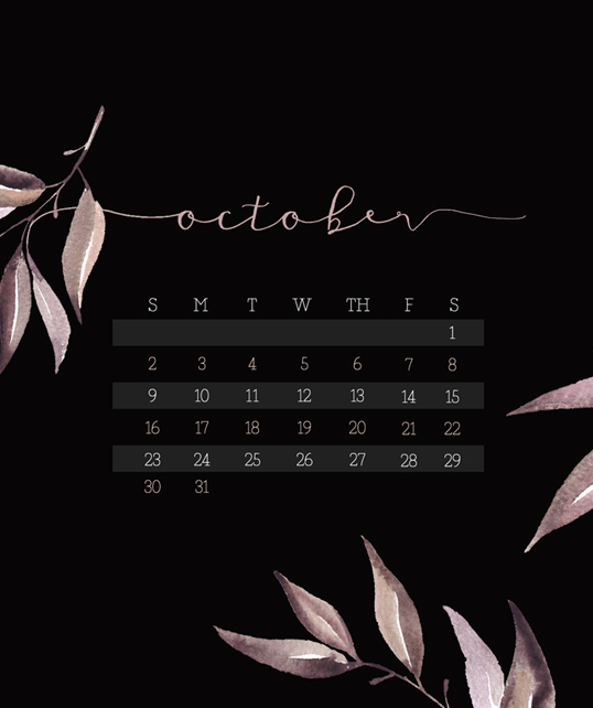 October 2016 Calendar Wallpaper