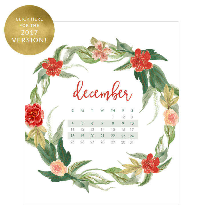 December Calendar Wallpaper for 2016