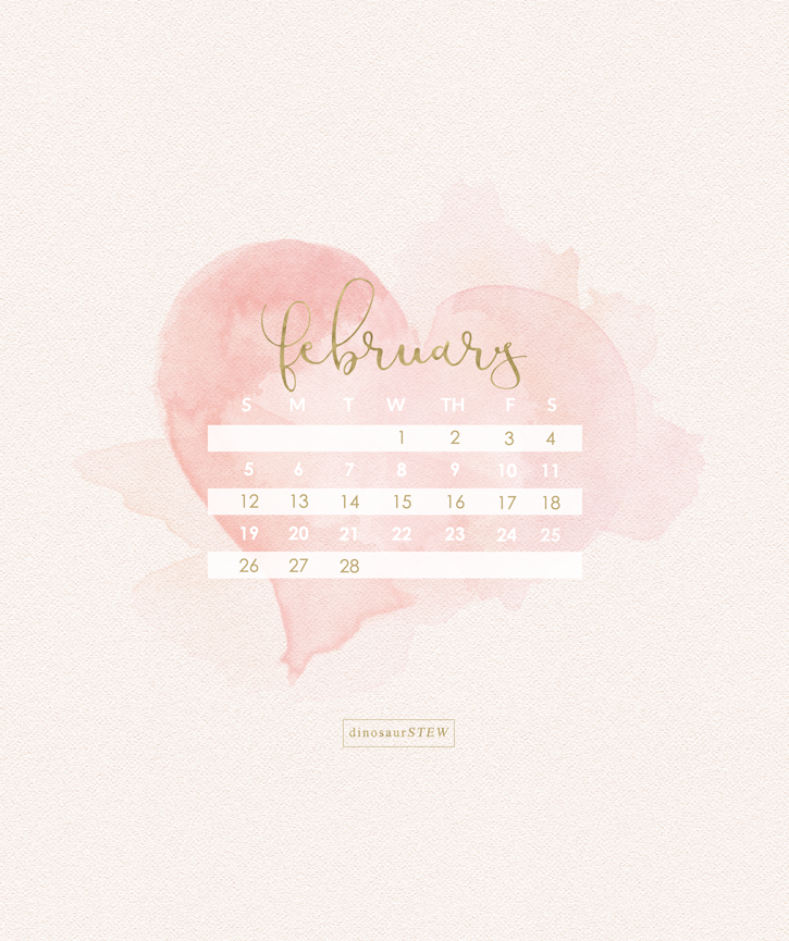 February Calendar Wallpaper 2017 Devices Desktop Versions
