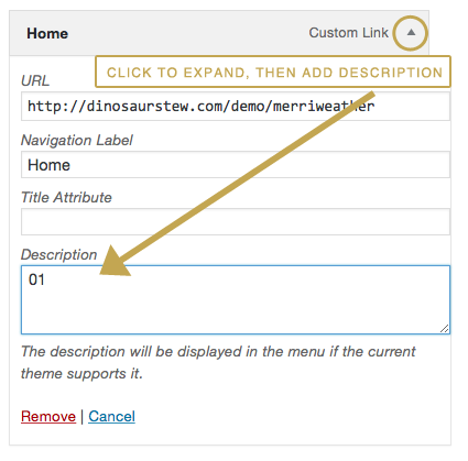 add description to menu item