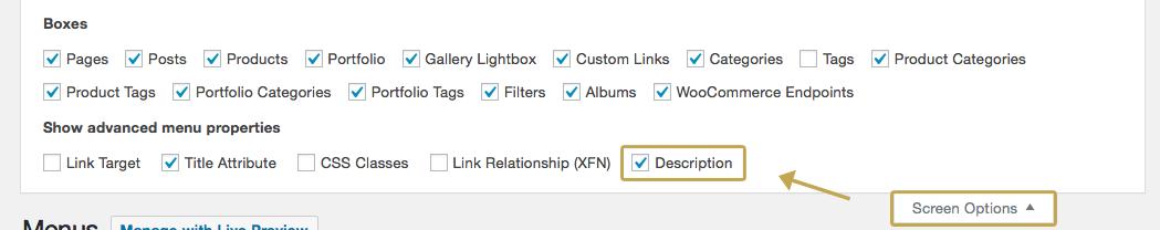 screen options and description