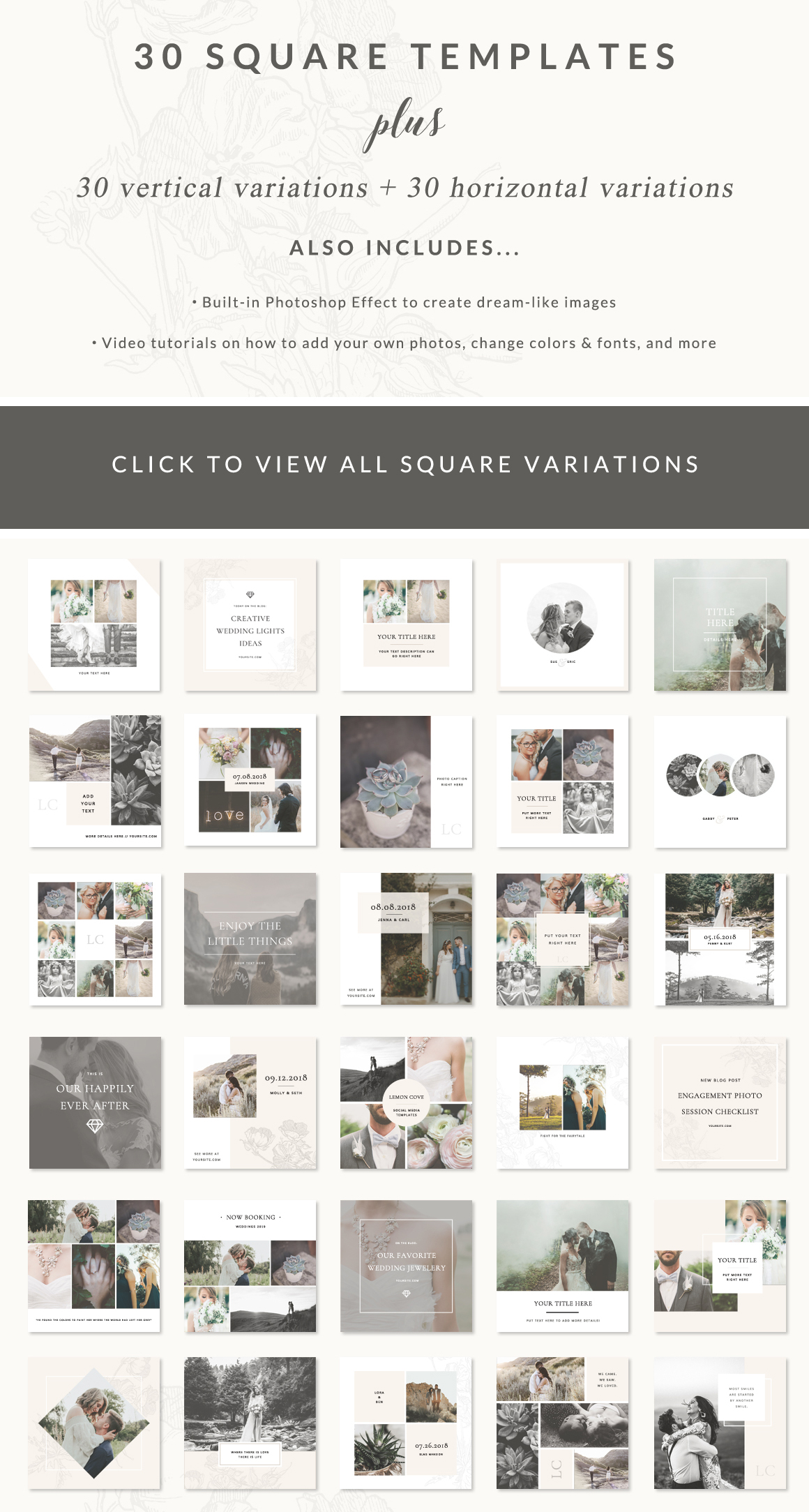 lemon cove social media template pack preview